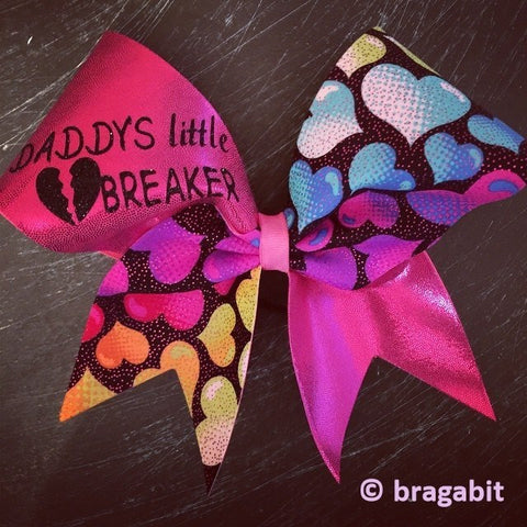Daddy's little heartbreaker cheer bow - BRAGABIT