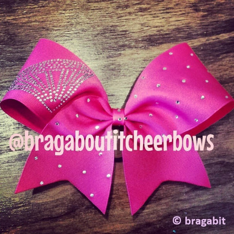 Diamond rhinestones pink ribbon cheer bow - BRAGABIT