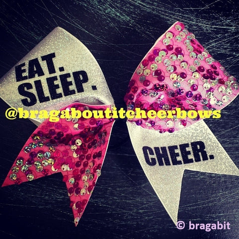 EAT.SLEEP.CHEER. pink sequin cheer bow - BRAGABIT  - 1