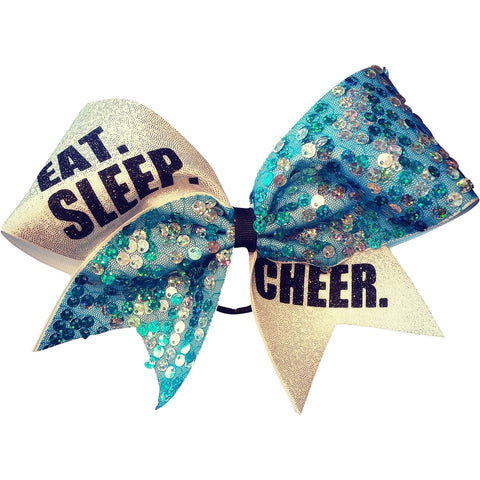 EAT.SLEEP.CHEER. turquoise sequin cheer bow - BRAGABIT