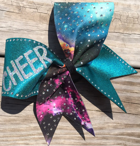 Galaxy and teal fabric cheer bow with rhinestones - BRAGABIT