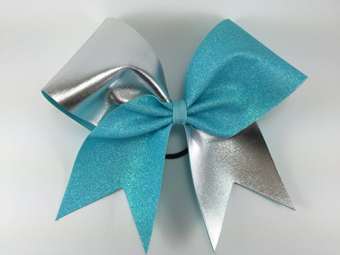 Glitter and silver fabric cheer bow. - BRAGABIT  - 1