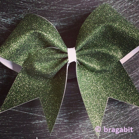 Glitter bow. Forest green glitter and white ribbon. colors can be changed. you can add words or designs for extra charge - BRAGABIT