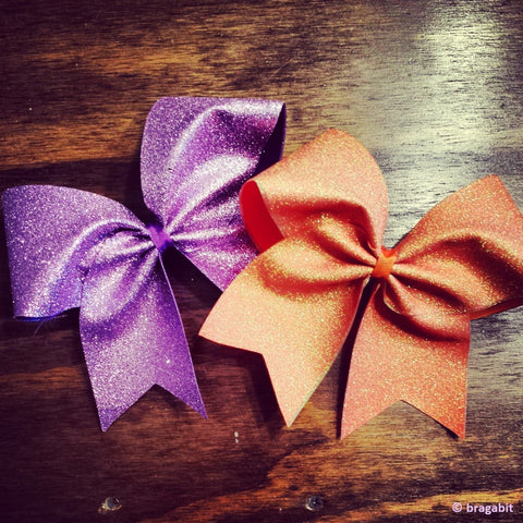 Glitter cheer bow in holo orange or lavender - BRAGABIT  - 1