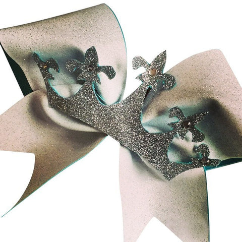 Glitter cheer bow with the glitter crown and rhinestones - BRAGABIT