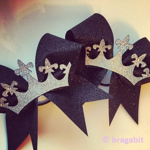 Glitter crown bow. Black glitter bow with silver glitter crown with rhinestones - BRAGABIT