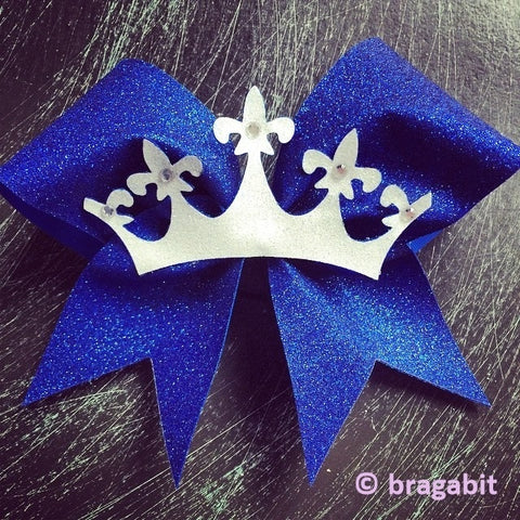 Glitter crown bow. Glitter bow with a crown and rhinestones. - BRAGABIT