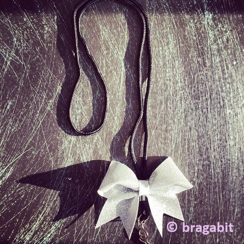 Glitter mini cheer bow lanyard. Available in any color. Check out our color chart page for color reference. - BRAGABIT  - 1