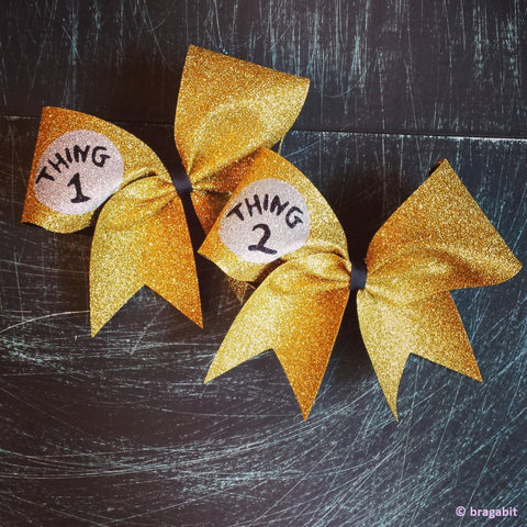 Glitter thing 1 thing 2  bows in gold - BRAGABIT