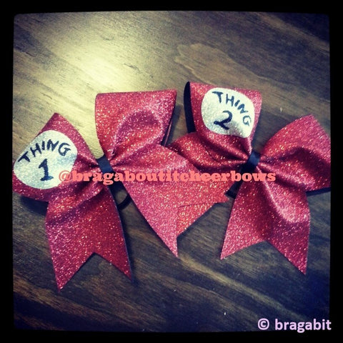glitter thing 1 thing 2 cheer bows - BRAGABIT