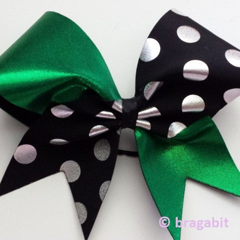 Green and black polka dotted cheer bow - BRAGABIT
