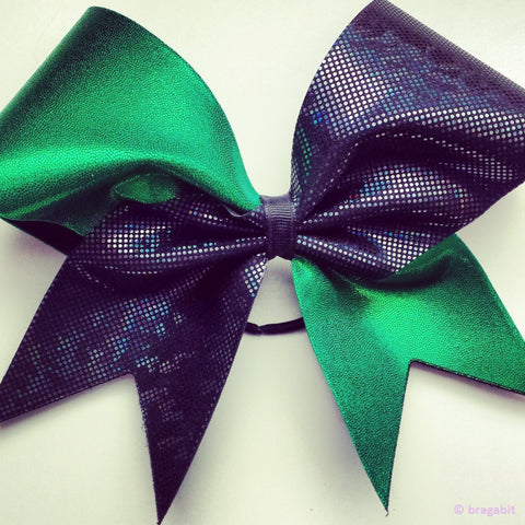 Green and black shattered glass cheer bow. - BRAGABIT