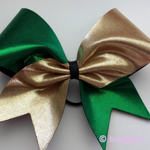 Green and gold mystique fabric cheer bow - BRAGABIT