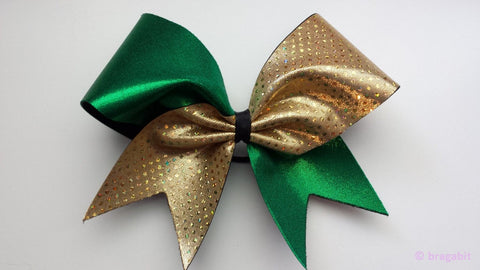 Green and gold sparkly cheer bow. - BRAGABIT
