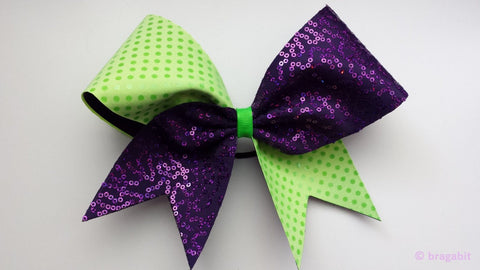 Green and purple sequin cheer bow. - BRAGABIT