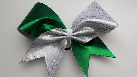 Green and white sparkly cheer bow. - BRAGABIT