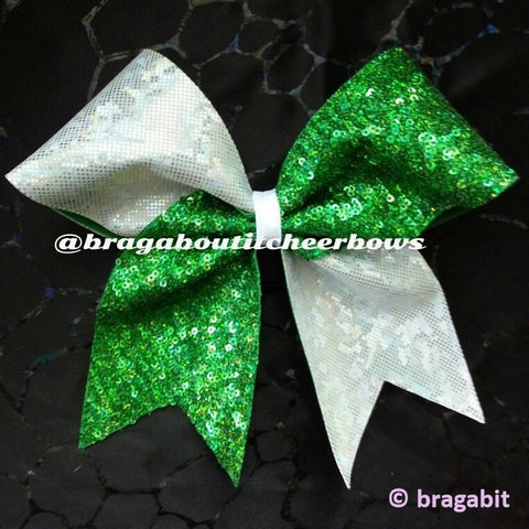 green holographic sequins and white holographic fabric cheer bow - BRAGABIT  - 1
