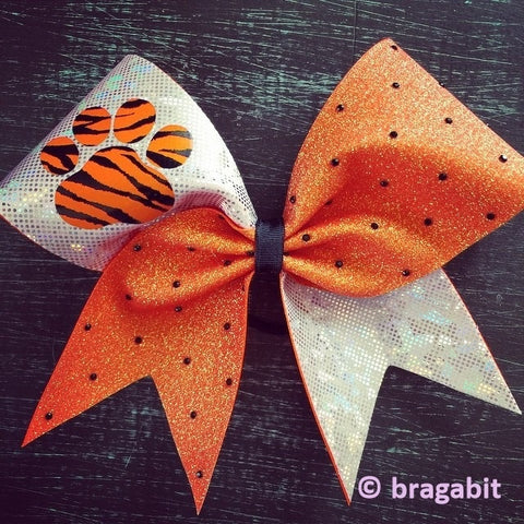 Holo orange glitter and white(silver) sparkly fabric with paw and black rhinestones - BRAGABIT