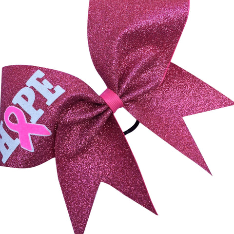 Hope breast cancer awareness bows made with pink, white and neon pink glitter. - BRAGABIT  - 1