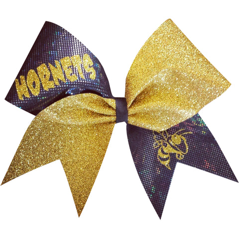 Hornets black shattered glass and gold glitter cheer bow - BRAGABIT