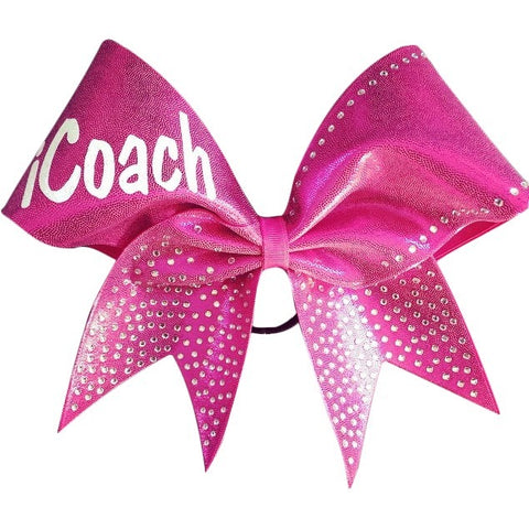 iCoach pink mystique fabric cheer bow with rhinestones. - BRAGABIT