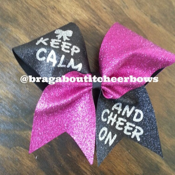 Keep Calm And Cheer On Bow In Black Pink Glitter