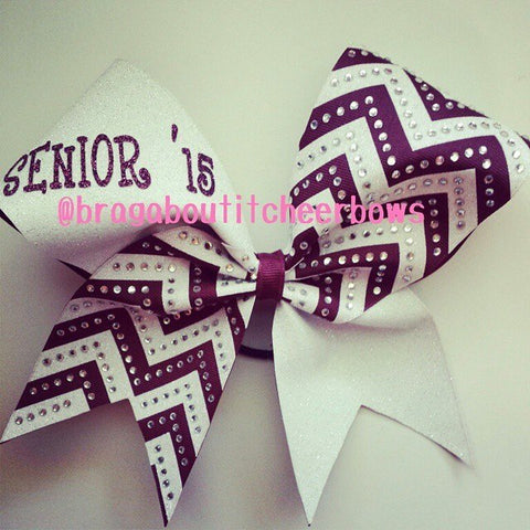 Maroon and white glitter senior'15 cheer bow with chevron and rhinestones.  Can be made in any color combination. - BRAGABIT