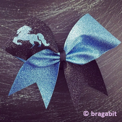Mascot bow. Columbia blue and black glitter cheer bow with horse - BRAGABIT