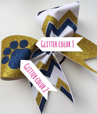 Mascot bow with chevron. Black, red glitter and white fabric chevron cheer bow with paw - BRAGABIT  - 1