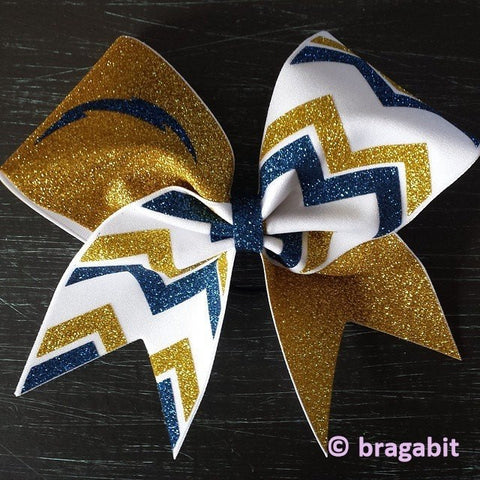 Mascot bow with chevron. Chargers gold and navy glitter with white fabric cheer bow. - BRAGABIT  - 1
