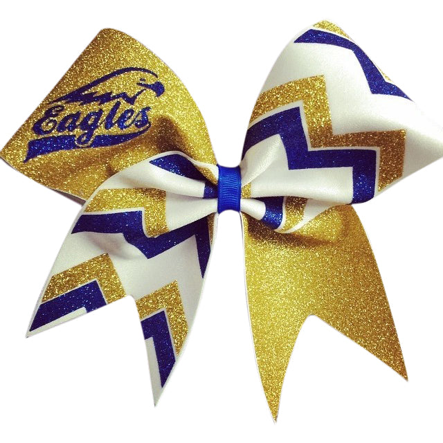 Mascot Bow with chevron. Eagles gold , royal blue glitter and ...
