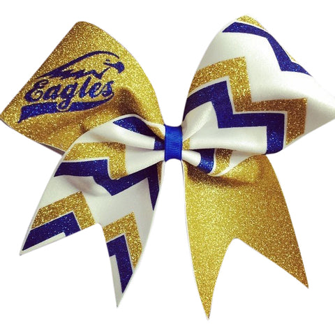 Mascot Bow with chevron. Eagles gold , royal blue glitter and white fabric chevron cheer bob - BRAGABIT