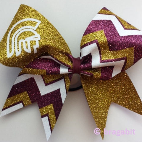 Mascot bow with chevron. Maroon, gold glitter and white fabric chevron cheer bow - BRAGABIT