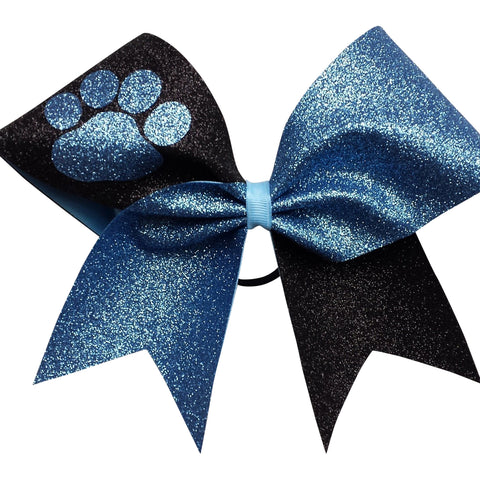 Mascot two colors glitter bow. Black and columbia blue glitter cheer bow with paw. - BRAGABIT  - 1