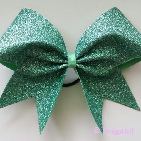 Mint glitter cheer bow. - BRAGABIT