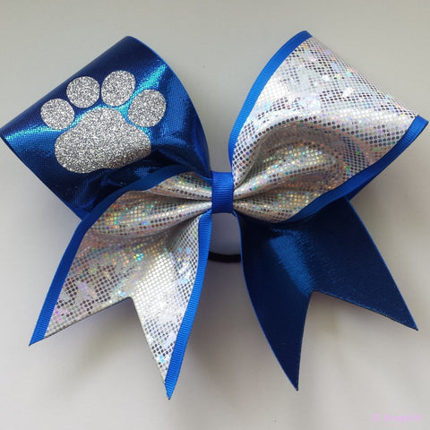 Mystique fabric and silver shattered glass fabric cheer bow with glitter mascot. - BRAGABIT  - 1