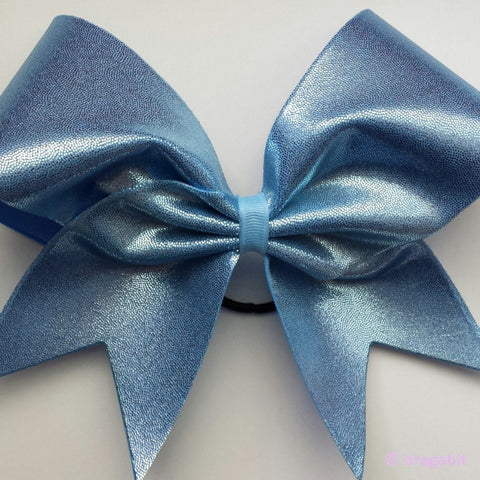 Mystique fabric cheer bow in carolina blue ( columbia blue, baby blue). - BRAGABIT
