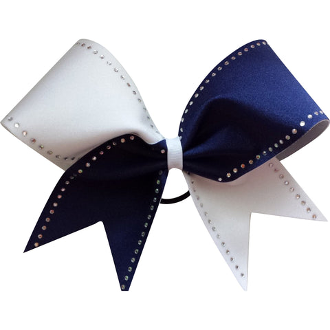 Navy and white rhinestone bow with rhinestones. - BRAGABIT