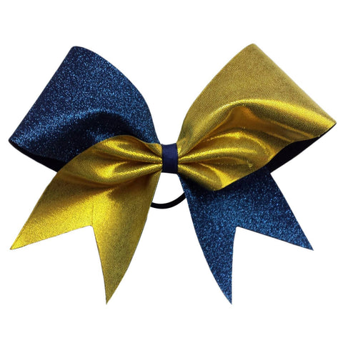 Navy blue glitter and gold mystique fabric cheer bow. - BRAGABIT
