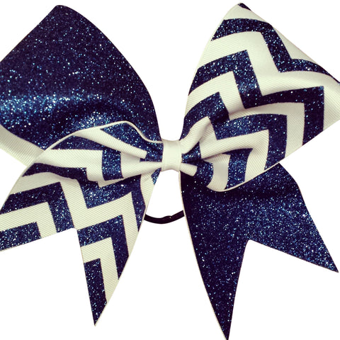 Navy blue glitter and white ribbon chevron cheer bow. - BRAGABIT