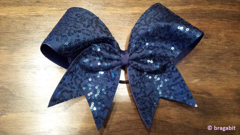 Navy sequins cheer bow. - BRAGABIT  - 1