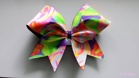 Neon colored flower cheer bow - BRAGABIT