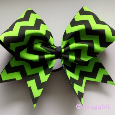 Neon green and black chevron fabric cheer bow - BRAGABIT