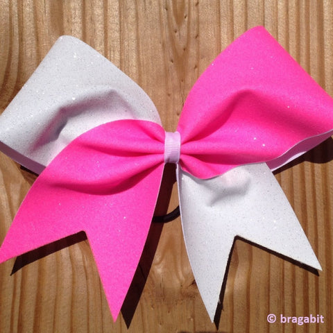 Neon pink and white glitter cheer bow. - BRAGABIT