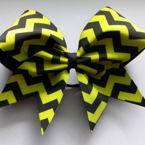 Neon yellow and black chevron cheer bow. - BRAGABIT  - 1