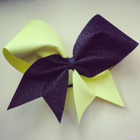 Neon yellow and black glitter cheer bow. - BRAGABIT