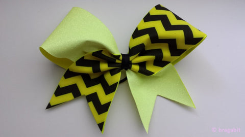 Neon yellow glitter chevron cheer bow - BRAGABIT