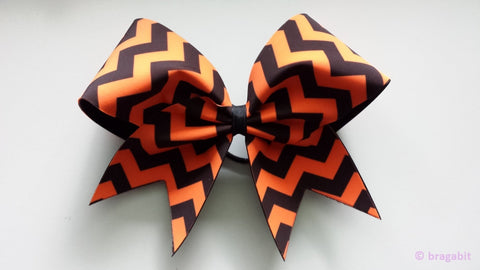 Orange and black chevron cheer bow. - BRAGABIT  - 1