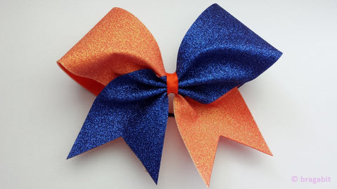 Orange and royal blue glitter cheer bow - BRAGABIT