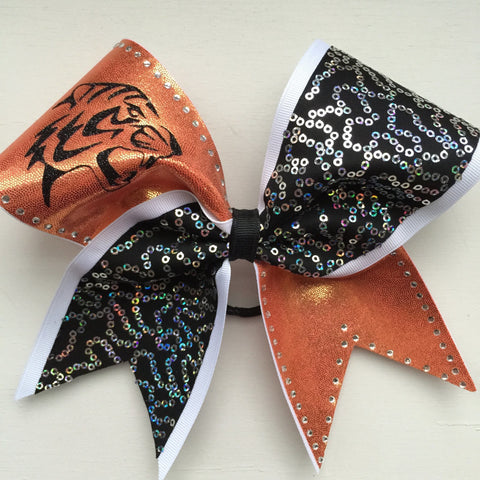Orange , black and white tiger cheer bow with rhinestones - BRAGABIT  - 1